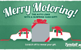 image of the Merry Motoring flyer for the Tyndall Credit Union
