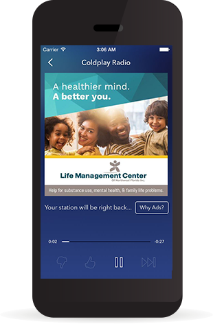 Image of a cell phone with the LMC commercial playing in the Pandora app.