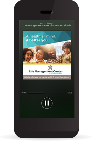 Image of a phone playing the Life Management Center ad on Spotify.