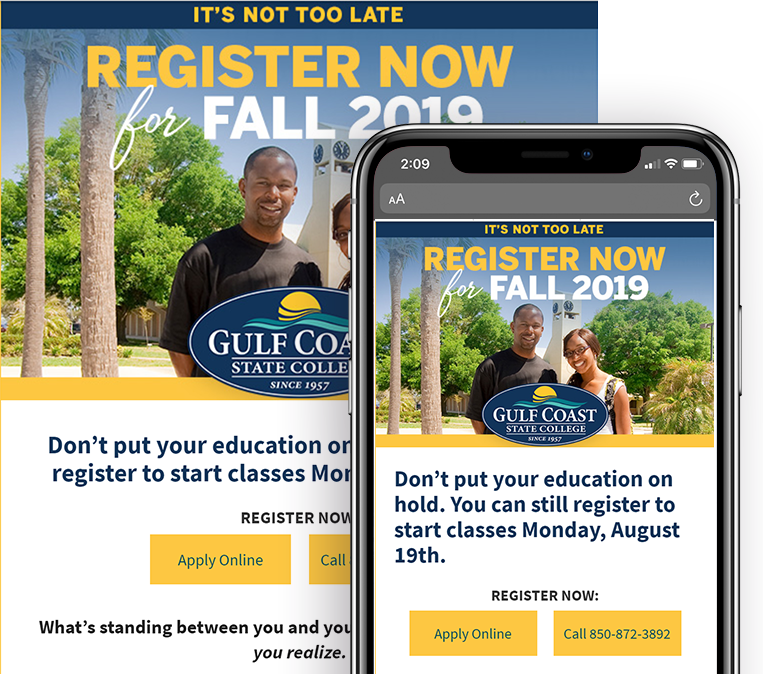 "The ""Register for Fall 2019 media campaign"" reset for email marketing."