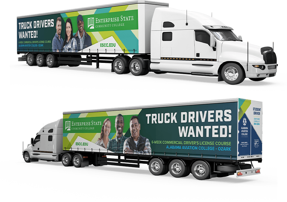 Image of the ESCC training tractor trailer combination aka big rig from each side of the truck displaying their outdoor marketing campaign.