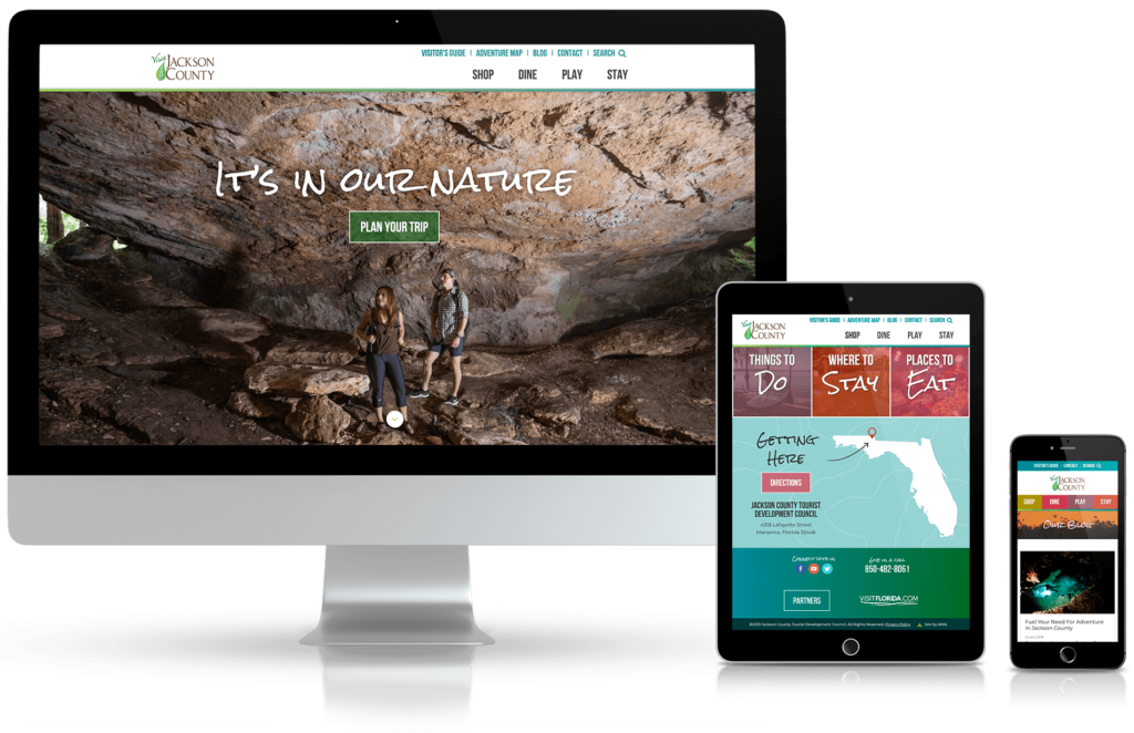 Jackson County Florida Tourism website on multiple media devices